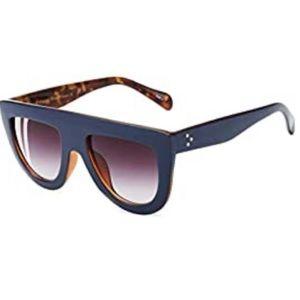 Blue Tortoise Celine Style Flat Top Sunglasses